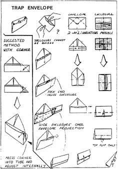 Envelope and Letter Folding: Trap Envelope Origami And Kirigami, Origami Folding, Useful Origami, Origami Envelope, Fold Envelope, Origami Books, Diy Paper, Paper Crafts, Letter Folding