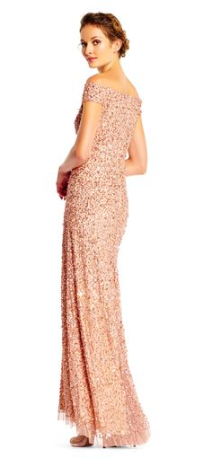 Off the Shoulder Sequin Embellished Tulle Evening Dress by Adrianna Papell Metallic Bridesmaid Dresses, Gold Bridesmaid Dresses, Bride Dresses, Gala Dresses, Formal Dresses, Gold Sequin Gown, Beaded Gown, Mothers Dresses, Gowns With Sleeves