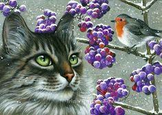 Cats Botanical Callicarpa Irina Garmashova Cats