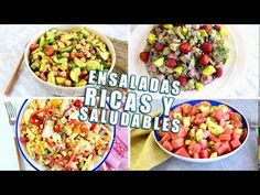4 ENSALADAS RICAS, FÁCILES Y SALUDABLES! - YouTube