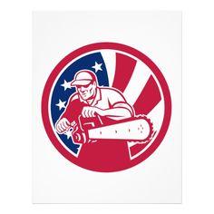 American Lumberjack USA Flag Icon Letterhead Custom Office Retirement #office #retirement