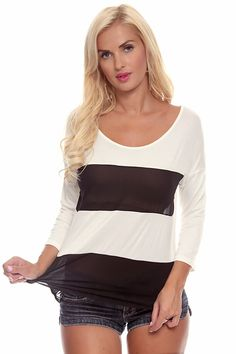 This top features a stripe mesh design throughout, quarter sleeves, slit on back, scoop neckline, Imported  #lollicouture #chic #love #croptop #summerfashion #fashionista #summerstyle