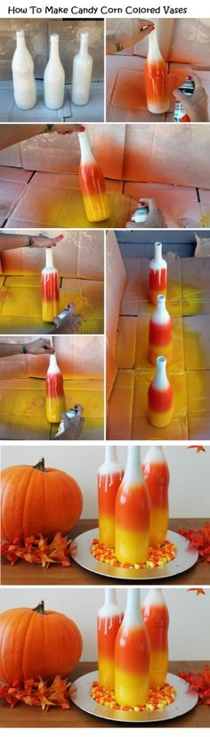 How To Make Candy Corn Colored Vases - #art, #diy, Crafts