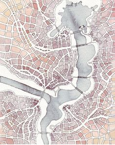 Emily Garfield's Watercolor Drawings Map Imaginary Places and Examine the Fractal Shapes of Cities - CityLab Watercolor Architecture, Architecture Drawings, Plan Ville, Topography Map, Imaginary Maps, Planer Layout, Map Quilt, Art Carte, Map Design