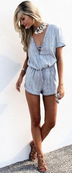 #summer #trending #fashion | Light Blue Lace Up Playsuit