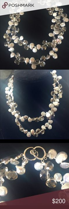Spectacular Coin Pearls & Smoke Crystal Necklace Double strand of silver coin pearls mixed with faceted smoke crystals. Designed by Linda Lee Pratico. Worn in fashion show only. NWOT Linda Lee Pratico Jewelry Necklaces