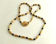 Anne Klein Gold Tone and Black Bead Link Necklace by ediesbest, $10.95