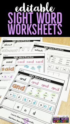 Teach Your Child to Read - Sight word worksheets for kindergarten, first grade worksheets, and second grade worksheets. These editable sight word printables are so easy! Edit once and the worksheet fills in for you with that word Preschool Sight Words, Learning Sight Words, Sight Word Practice, Sight Word Activities, Kindergarten Sight Words Printable, Fry Sight Words, First Grade Sight Words, Work Activities, Word Games