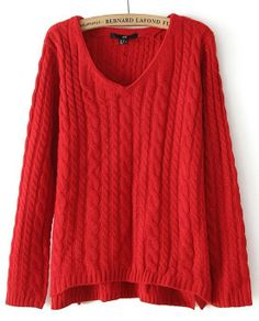 Red V-neck Long Sleeve Loose Cable Knitting Sweater US$31.50