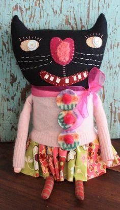 cute black cat doll by Valerie Weberpal.  http://www.earthangelsstudios.com/Valerie-Weberpal--C91.aspx