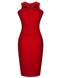 Attractive Halter Blended  Bodycon-dress Bodycon Dresses from fashionmia.com