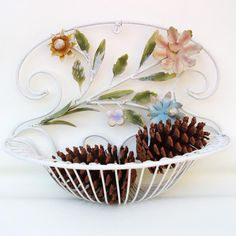 SOLD - Vintage Metal Wall Hanging Iron Planter Wire Basket by WhimzyThyme #whimzythymevintage #whimzythyme #homedecor