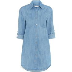 Seafolly Journey chambray shirt dress (12.610 HUF) ❤ liked on Polyvore featuring dresses, vestidos, tops, clearance, denim, blue dress, seafolly, blue shirt dress, t-shirt dresses and long shirt dress