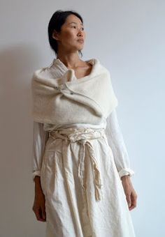 PIP-SQUEAK CHAPEAU ETC. - Wrap... In a Heavy Linen Weave... Love the Details on the Shirt & Skirt...