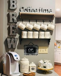 This started out as an empty odd corner in our kitc… coffee station. This started out as an empty odd corner in our kitchen. The galvanized brew letters are from hobby lobby Country Farmhouse Decor, Modern Farmhouse Kitchens, Farmhouse Style Kitchen, Diy Kitchen, Decorating Kitchen, Kitchen Ideas, Country Kitchen, Kitchen Corner, Kitchen Themes