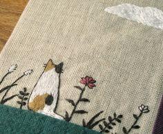 手刺繍ブックカバー(三毛猫)の画像2枚目