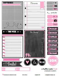 chalkboard pink journaling elements preview Free Printable Download    Chalkboard Pink Journaling Elements