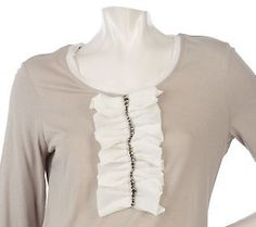 [Will add something like this to my new t-shirts]LOGO by Lori Goldstein Chiffon Detail Tee with Embellishment. Fun chiffon ruffle-trimmed top. The soft, casual shirt may be worn with or without the embellished chiffon detail attached below the scoop neckline. 60% cotton/40% modal.    Retail Value:56.00;QVC Price:41.50; Clearance Price:17.94
