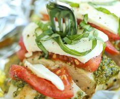 Pesto Caprese Chicken in Foil