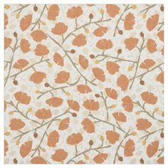 Classic Floral Overlay Fabric in Terra Cotta (patternpod)