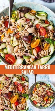 Shake up your lunch routine with this delicious Farro Salad! Packed with Mediterranean flavours of olives, capers, cherry tomatoes and zucchini this salad will become a picnic favourite.
