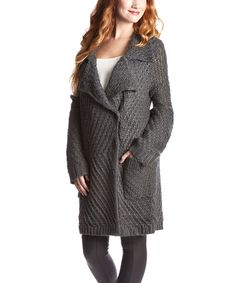 This Gray Peacoat Cardigan by Morning Apple is perfect! #zulilyfinds