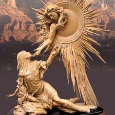 People of the Sun, Lady of The Pearl by Chuck Oldham Creation story of the Yavapai Indians of Arizona. Bronze Sculpture, Wood Sculpture, Realistic Drawings, Art Drawings, Statues, Religion, Native American Art, Dungeons And Dragons, Art Inspo