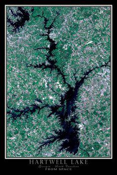 Hartwell Lake Georgia - South Carolina Satellite Poster Map