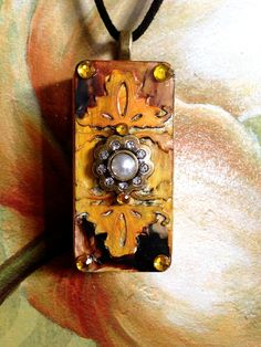 """Upcycled Alcohol Inked Domino """"Vintage Look"""" Pendant with Faux Pearl & Gem Necklace"""