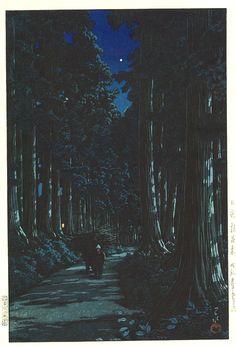 Rows of Cedars in Nikko - 1930 Kawase Hasui Japanese Illustration, Landscape Illustration, Watercolor Landscape, Illustration Art, Japanese Drawings, Japanese Prints, Japanese Art, Japanese Woodcut, My Art Studio