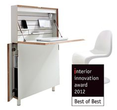 "flatmate: home office _ Sekretär für enge Flure _ Laptop Arbeitsplatz_ iPad Sekretär_iPad desk: interior innovation award 2012 / Best of Best für ""flatmate"""