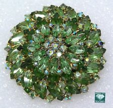 Vintage High End Estate Brooch Green Navette Rhinestone Round Layered Dome 2.5""
