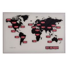 Nextime World Time Digit Clock - red LED wall clock