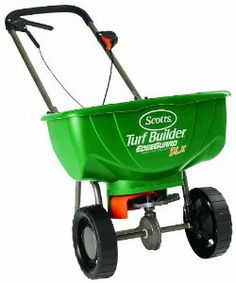 Scotts 76232 Turf Builder EdgeGuard DLX Broadcast Spreader by Scotts. $56.48. Holds up to 15,000 square feet of Scotts lawn products.. Includes Scotts exclusive EdgeGuard Technology.. No assembly required and pre-calibrated.. Control panel with precision rate settings for more accurate coverage.. Environmentally conscious choice that delivers superior quality and saves you money. From the Manufacturer                Scotts spreaders include an unique Edgeguard feat...