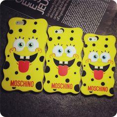 Moschino 3D Cartoon Niedlicher SpongeBob silikon Handyhülle für iphone 5 , iphone 6, iphone 6 plus - elespiel.com