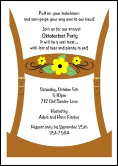 Discounted Oktoberfest Party Lederhosen Invite at CardsShoppe Invitation Wording, Invitation Cards, Invites, Oktoberfest Outfit, Oktoberfest Party, Oktoberfest Invitation, Holiday Party Invitations, Lederhosen, Announcement Cards