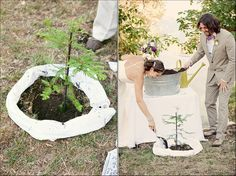 Country / Rustic Chic Wedding: First act as husband and wife....planting a tree together