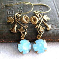 Vintage White Diamond Opal and Brass Vine Drop Earrings