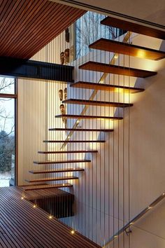 Modern Stairs // wood suspension stairs at The Treehouse by Forestgreen Creation Modern Staircase Création Forestgreen modern Stairs suspension Treehouse Wood Staircase Railings, Staircase Design, Stairways, Staircase Ideas, Moderne Lofts, Escalier Design, Modern Stairs, House Stairs, Stairs Window