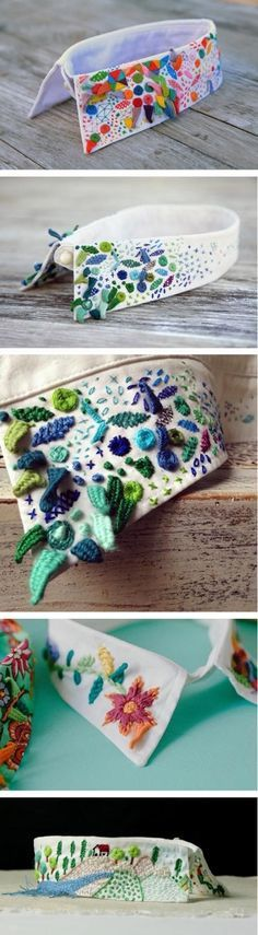 Embroidered collars by Loly Ghirardi (aka Señorita Lylo). Embroidery Art, Cross Stitch Embroidery, Embroidery Patterns, Col Crochet, Fabric Manipulation, Diy Clothes, Diy Fashion, Needlework, Sewing Projects