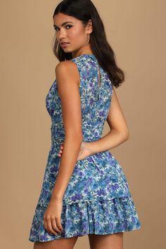 Blue Floral Print Dress - Skater Mini Dress - Tiered Mini Dress - Lulus Dresses For Teens, Dresses For Sale, Cute Dresses, Beautiful Dresses, Women's Dresses, Dresses Online, Trendy Summer Outfits, Summer Ootd, Mini Skater Dress