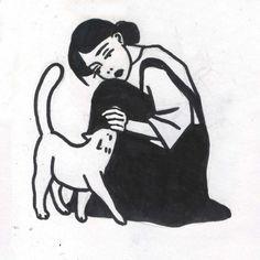 #lowart #lofi #tattoo #art #linework #0tst0y #otstoy #tattooflash #tattoo_flash #drawing #illustration #draw #sketch #stickandpoke #sticknpoke #tattoo #blackandwhite #traditionaltattooflash #woman #girl #cat #kitty #friendship