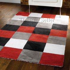 Glade check rugs in black red white grey buy online from the rug seller uk - Modern Rugs - Liberty