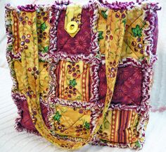 Burgundy and Gold Harvest Rag Quilt Tote | Flickr - Photo Sharing!