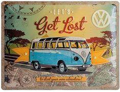 Nostalgic Art 23155 VW Bulli / Let's Get Lost, Metal Sign 30 x 40 CM: Amazon.co.uk: Kitchen & Home
