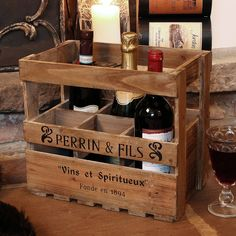 Wooden Six Wine Bottle Storage Crate from notonthehighstreet.com