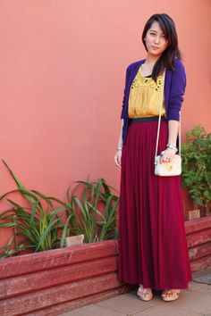 Maxi Skirt    http://www.chictopia.com/photo/show/531940-Maxed+Out-cream-no-brand-bag-light-pink-the-limited-wedges-magenta-forever-21-skirt