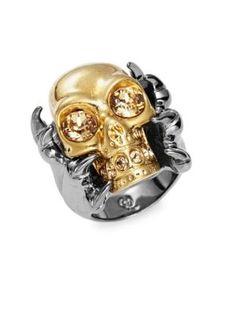 ALEXANDER MCQUEEN Crystal Skull Ring. #alexandermcqueen #ring
