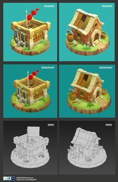 Castle Kingdom_Fan art, Emma K Building Concept, Low Poly 3d Models, 3d Tutorial, Game Assets, Environment Design, Environmental Art, Home Art, Blog, Castle