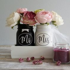 NEW!!! Mr & Mrs jars in a lovely planter. Great for wedding table centerpiece